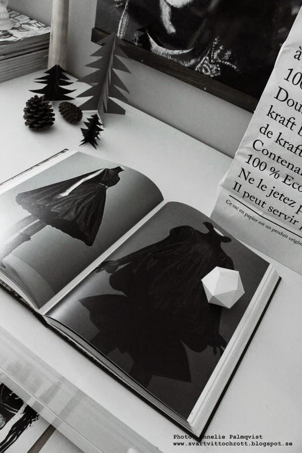 ateljé, vitt, le sac en papier, papperspåse, papperspåsar, påse med text, vit påse, svart och vitt, svartvita, alexander mcqueen, bok, granar, gran, grått,