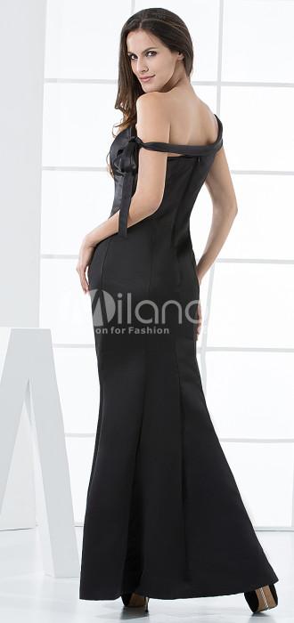 Noir Robe de Soirée Unique gaine sat