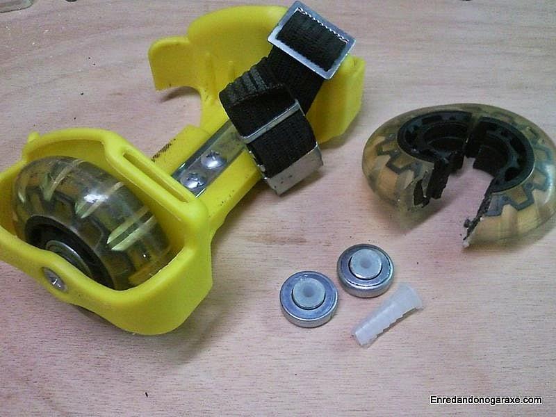 Patín, rodamientos y tacos de nailon. Enredandonogaraxe.com