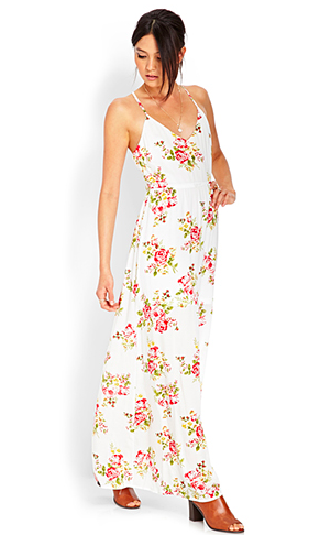 White maxi dress with beautiful pink/red flower print, from Forever21