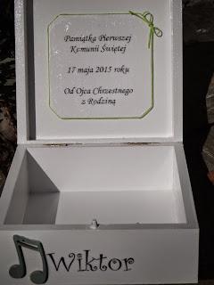 Pamiątka Pierwszej Komunii Świętej dla chłopca, szkatułka z dedykacją, decoupage