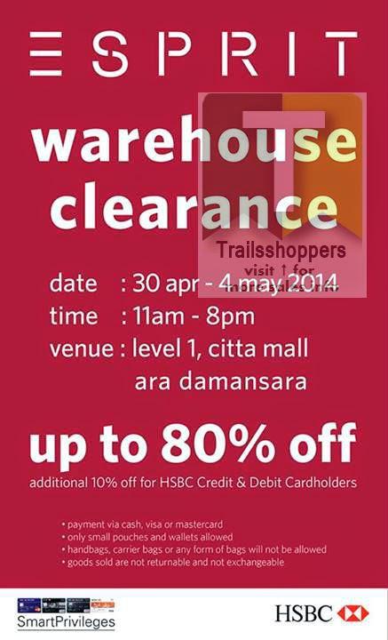 esprit warehouse sale citta mall ara damansara petaling selangor