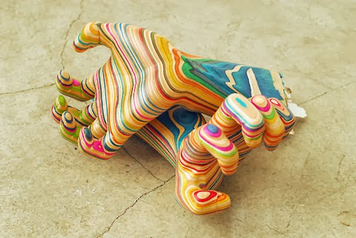 Haroshi, esculturas, skateboards recicladas, reciclaje, madera