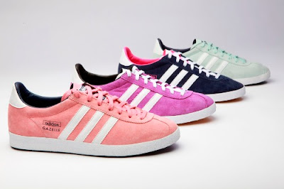 The-Adidas-gazelles-in-magenta-pink-navy-and-mint-green