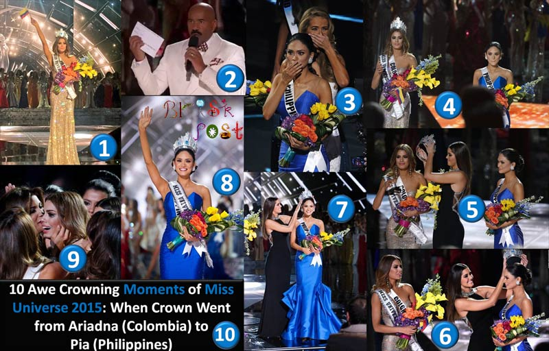 10 Awe Crowning Moments of Miss Universe 2015 with a range of Emotions: When Crown Went from Ariadna Gutiérrez (Colombia) to Pia Wurtzbach (Philippines)
