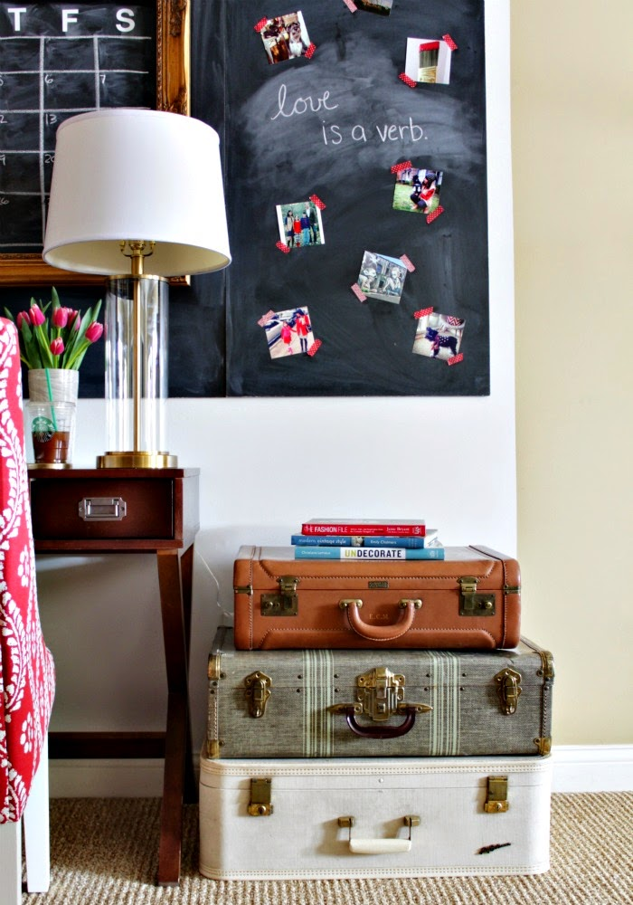 craft & offfice supplies stored in vintage suitcases