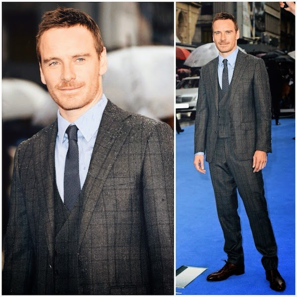 Michael Fassbender in Thom Sweeney suit and John Lobb shoes - 'X-Men: Days of Future Past' London Premiere