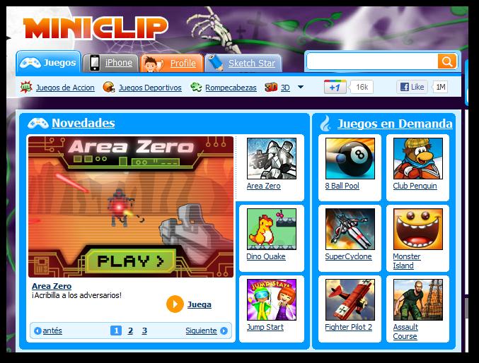 Miniclip, cientos de juegos gratis a través de Internet