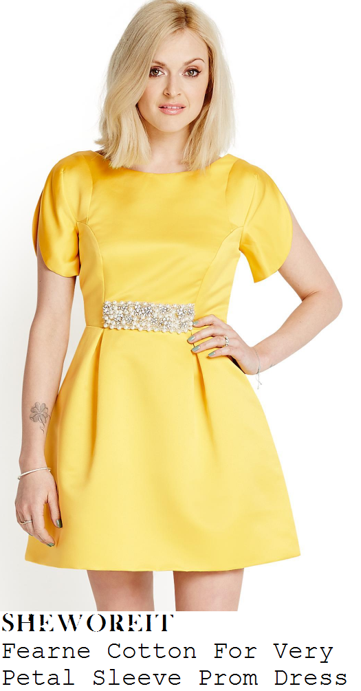 fearne-cotton-bright-yellow-short-sleeve-embellished-waist-prom-mini-dress-very-launch