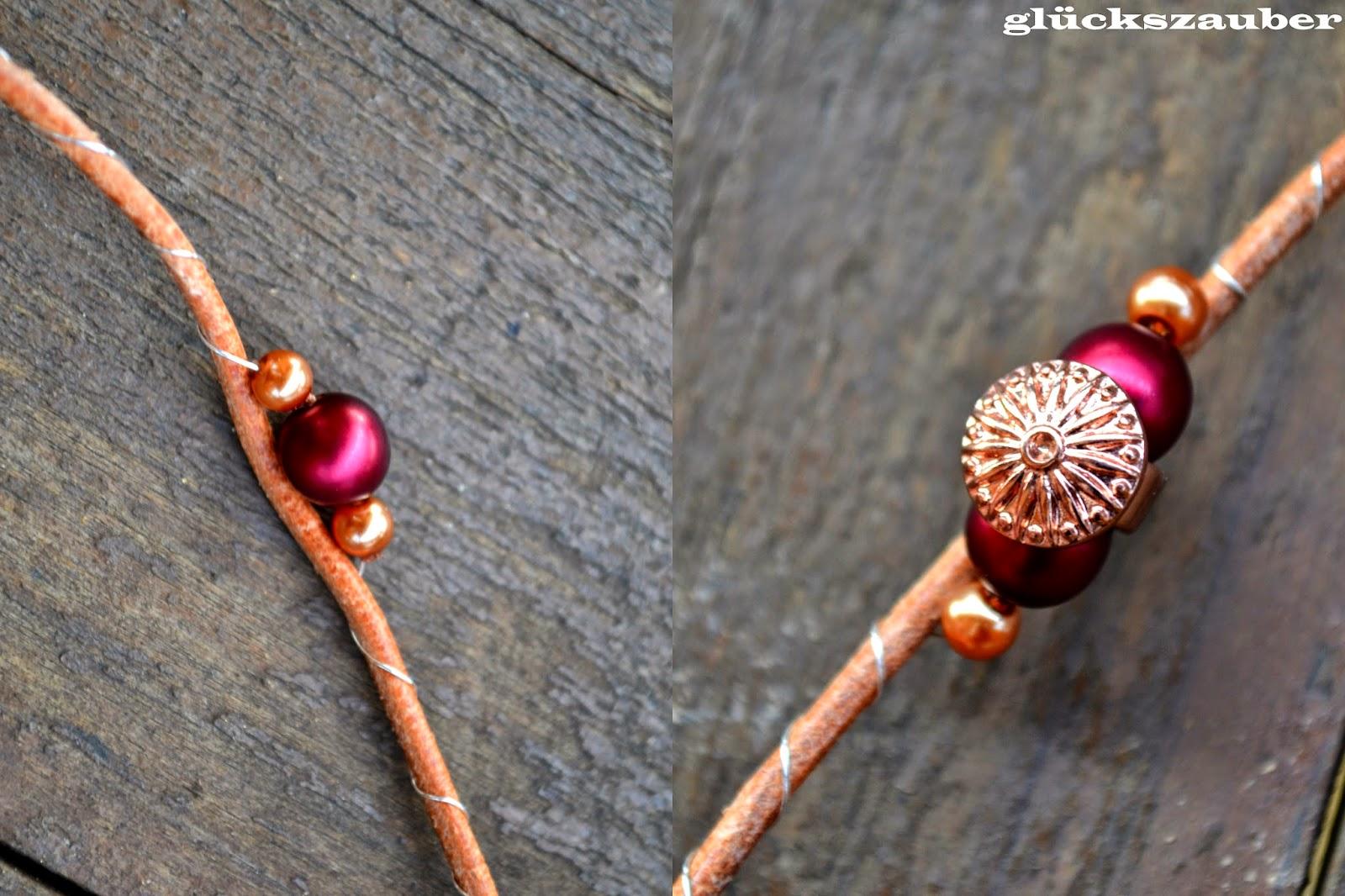 glückszauber : Diy: Lederarmband mit Perlen und Perlenarmbänder