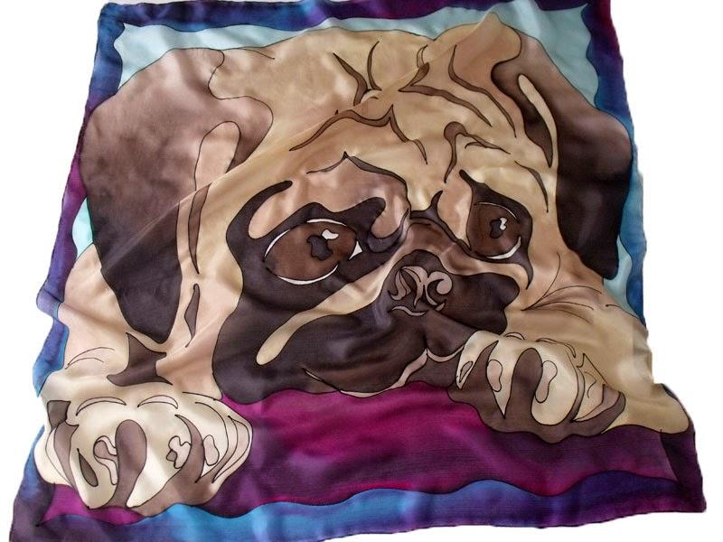 Mopsz selyemkendő - viseld kedvenced egy szép, kézzel készült alkotáson!