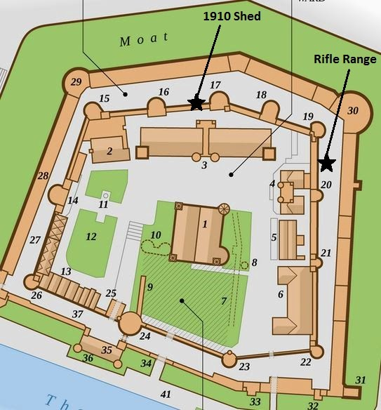 Tower of London map showing location of shed from 1910 and Miniature Rifle Range.