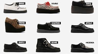 Vari modelli di scarpe creeper