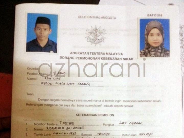 Azhar Alyani Prosedur Permohonan Perkahwinan Awam Tentera