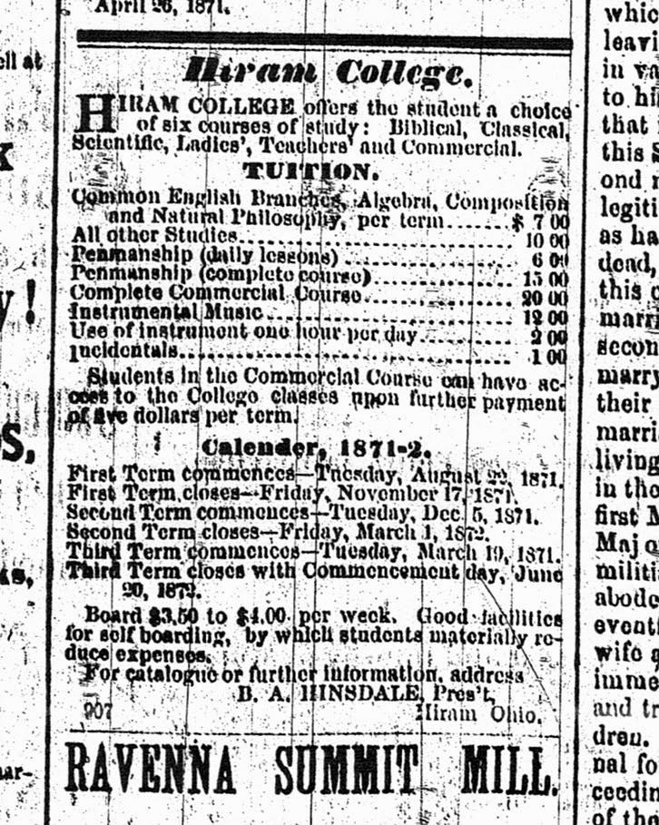 Hiram College ad 1872