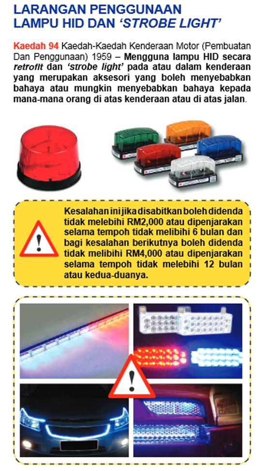 Peraturan Cermin Gelap dan Larangan Penggunaan Lampu HID JPJ