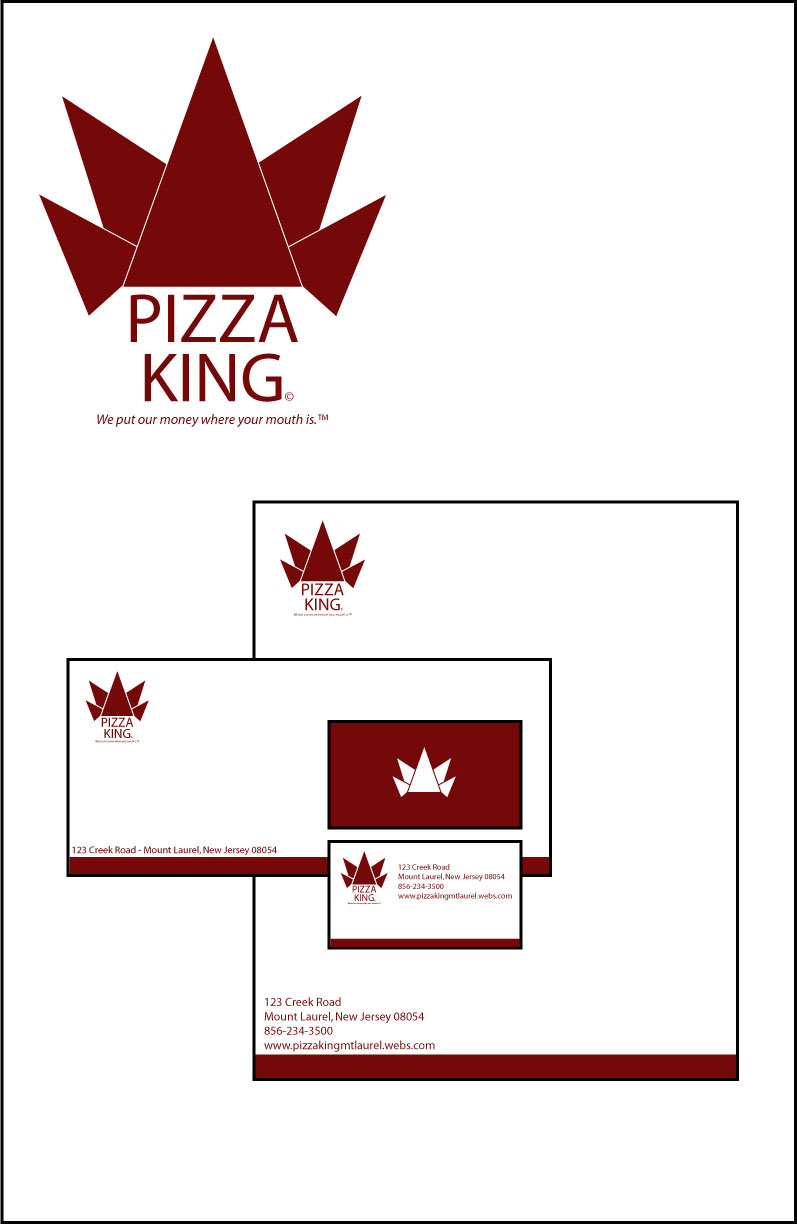 J. Ronn: Logo, letterhead, envelope, and business card for Pizza ...