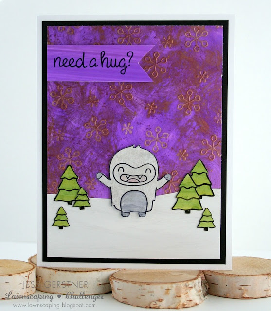 Need a Hug Card by Jess Crafts using Lawn Fawn Yeti Set Go