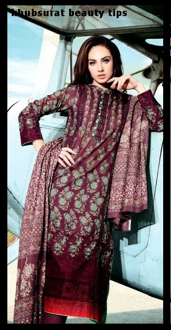 Primal Lawn dress of Gul Ahmad 2014