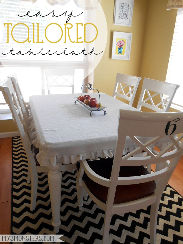 Easy DIY Tailored Tablecloth from a Painter's Drop Cloth at my3monsters.com