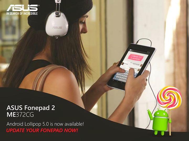 Asus Fonepad 7 ME372CG Terima Kemaskini Android 5 0 Lollipop