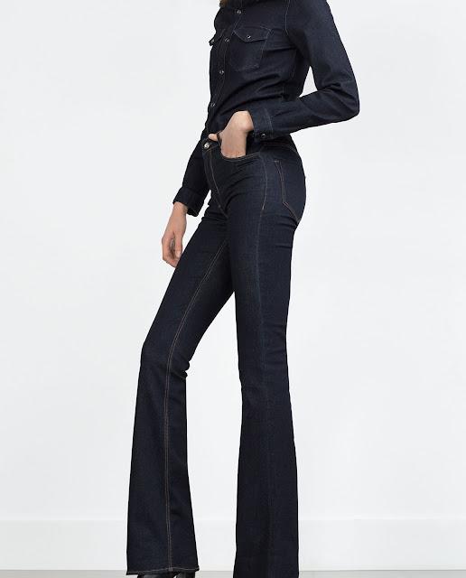 zara dark blue flared jeans, zara flares,