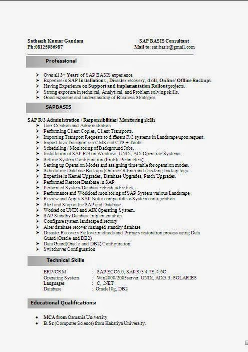 SAP Basis Consultant Resume Format – Sample Consultant Resume