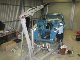 Taking out the sub frame Volvo Amazon