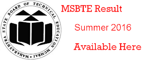 MSBTE Summer 2016 Result