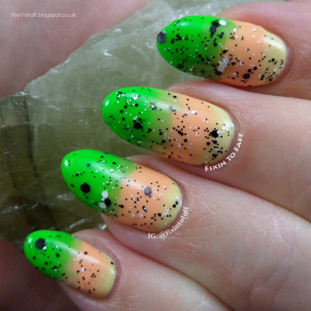 A recreation of A Girl And Her Polish's Soft Neon Gradient nail art.