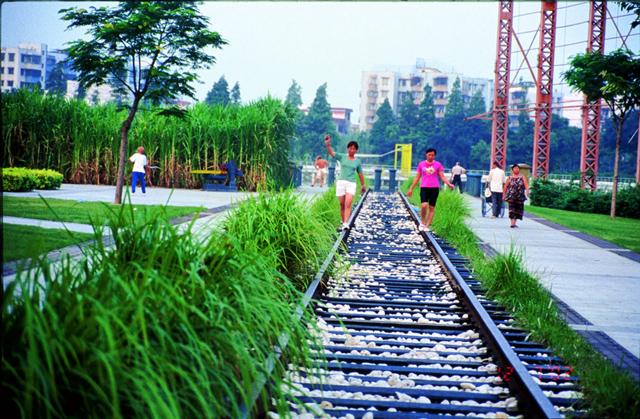 Ferrovia chinesa é transformada em parque público
