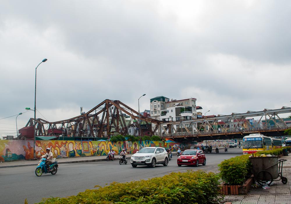 oldest bridge long bien in hanoi, vietnam