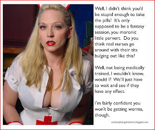 Captioned image of femdom who - shockingly - is not a qualified nurse
