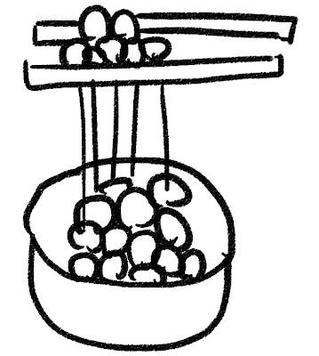 納豆のイラスト モノクロ線画