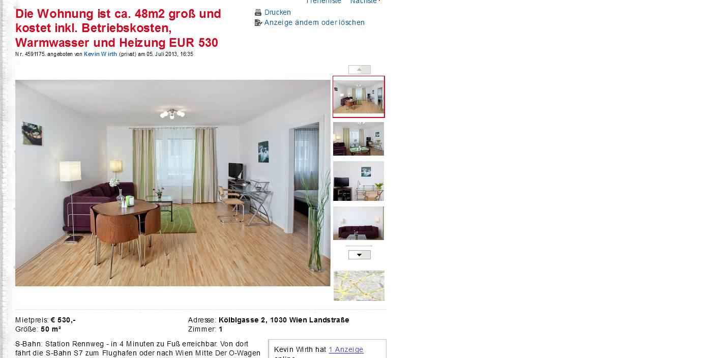 die wohnung ist ca 48m2 gro und kostet inkl betriebskosten. Black Bedroom Furniture Sets. Home Design Ideas