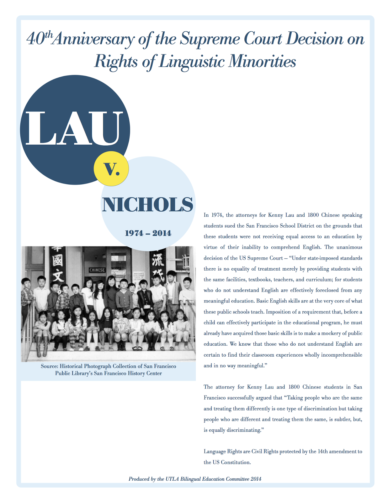 40th Anniversary of the Supreme Court Decision on Rights of Linguistic Minorities