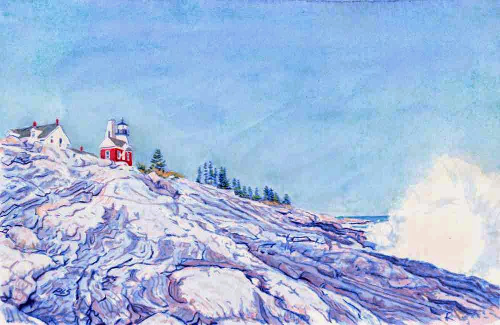 Pemaquid Light X - Watercolor by Paul Sherman