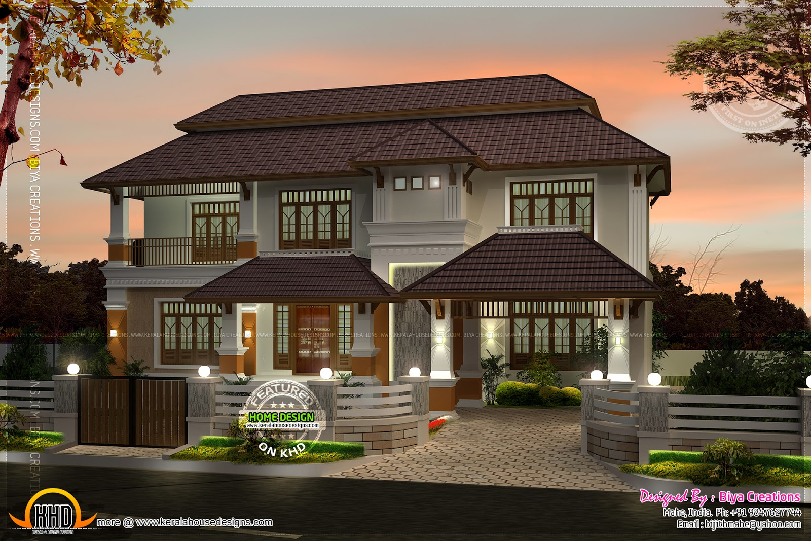 Beautiful Night View Of Indian Home Kerala Home Design