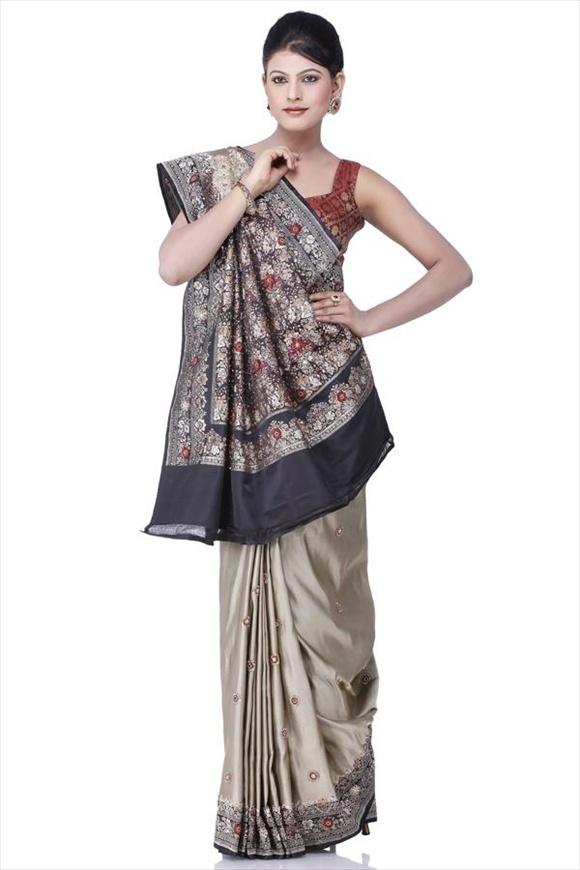 Stone Gray Kattan Silk Banarasi Saree