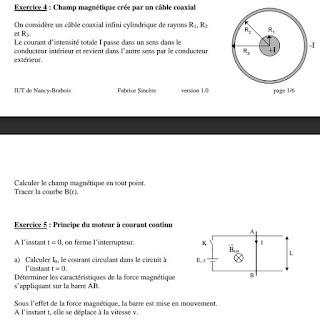 Exercice 1 : Champ magnétique terrestre (solénoïde) Exercice 2 : Champ magnétique crée par une spire Exercice 3 : Champ magnétique crée par un câble Exercice 4 : Champ magnétique crée par un câble coaxial Exercice 5 : Principe du moteur à courant continu Exercice 6 : Inductance d'un solénoïde