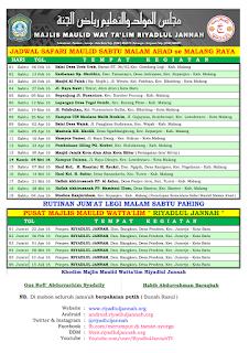 Jadwal Majlis Maulid Wat Ta'lim Riyadlul Jannah Februari - Juli 2016