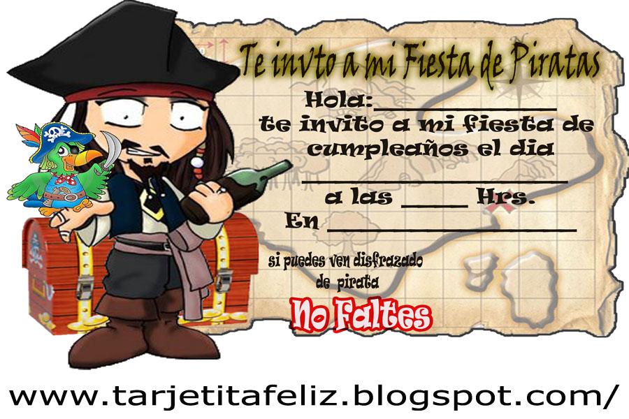 Tarjeta De Cumplea  Os De Piratas Del Caribe