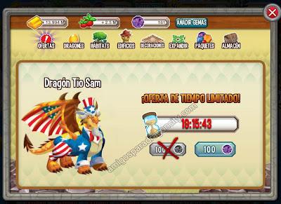 Oferta Especial Dragon Tio Sam En Dragon City