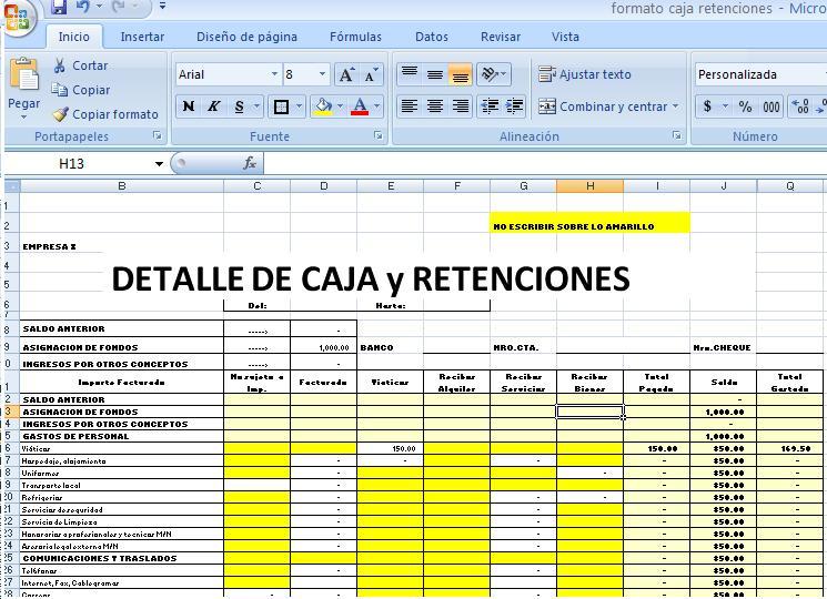 Formato Caja con retenciones - Bolivia Impuestos