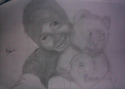 gambar sketsa wanita berjilbab