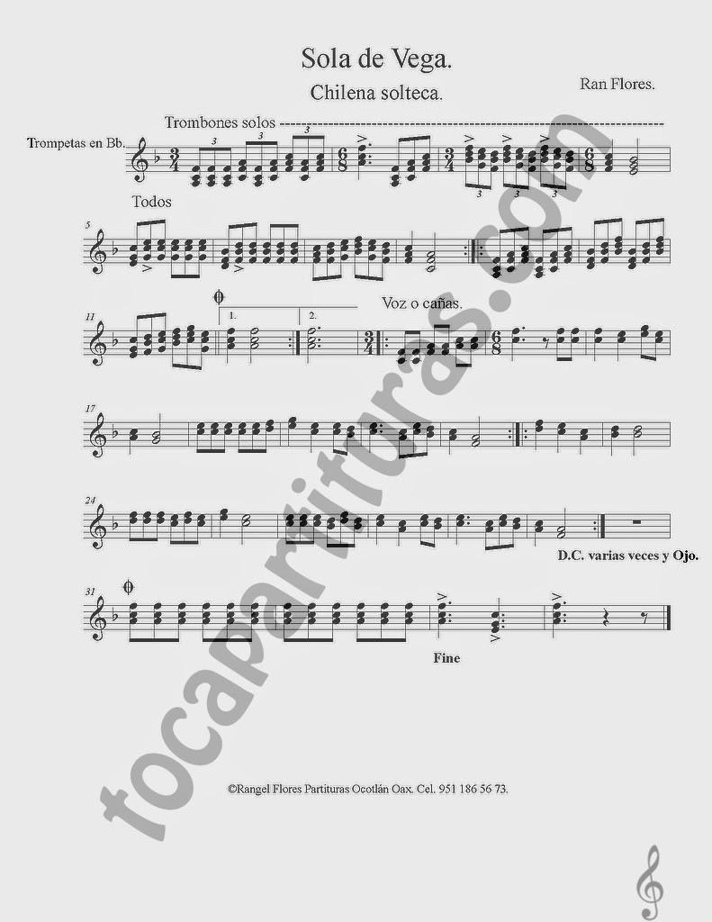 Partitura de Sola de Vega en Si bemol para Clarinete. La partitura puede servir también para Saxo Tenor y Saxofón Soprano en Si bemol Chilena Solteca  Partitura de Sola de Vega para Trompeta y Fliscorno en Si bemol