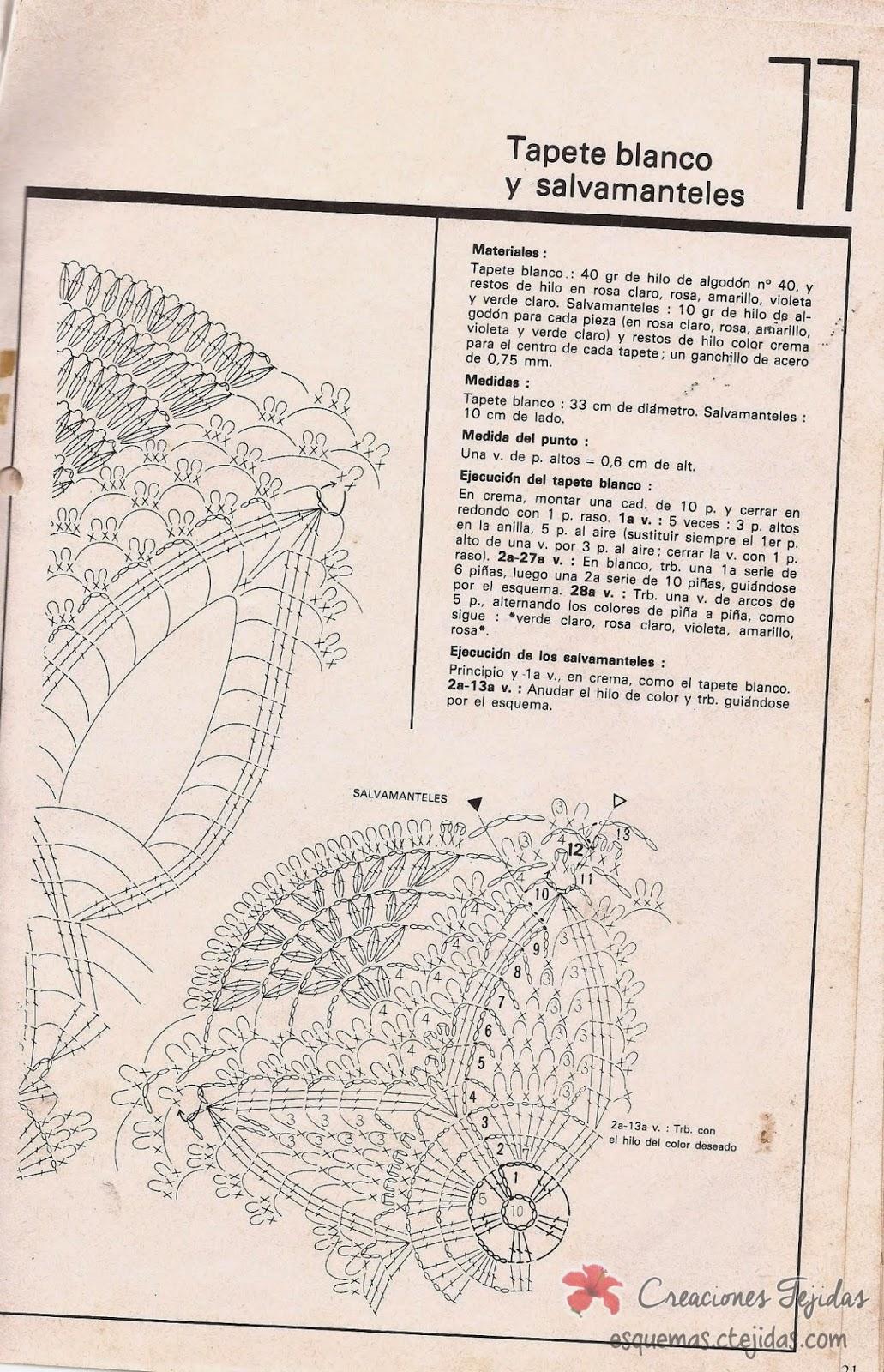 Tapete Blanco y Salvamanteles a Crochet