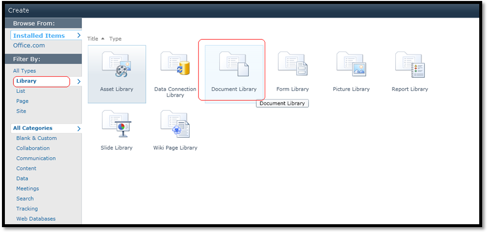 How to create a document library in sharepoint 2010 amol for Document library name sharepoint
