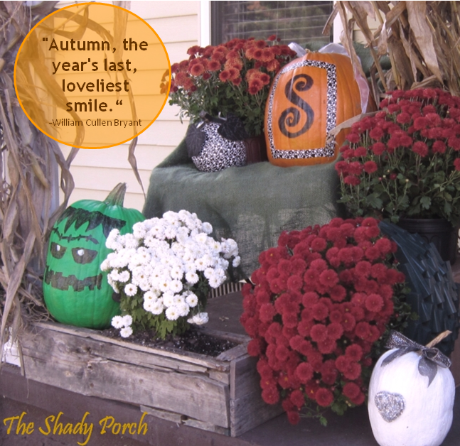 Fall on the Shady Porch...pumpkins and mums