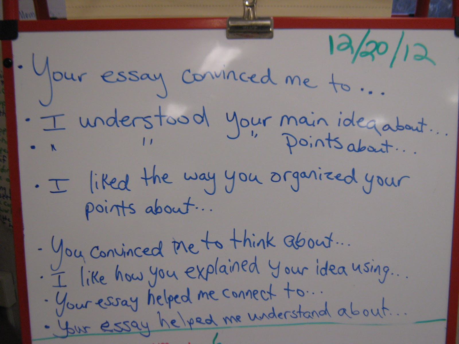 fun w reading and writing  one brave student agreed to his essay aloud all people should stop war then as a whole class we gave comments using the sentence stems listed